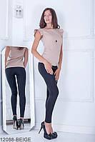 Женская блузка Подіум Trefoil 12088-BEIGE S Бежевый
