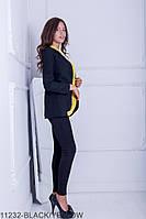 Женский пиджак-кардиган Подіум Cowl 11232-BLACK/YELLOW S Черный
