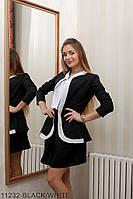 Женский пиджак-кардиган Подіум Cowl 11232-BLACK/WHITE S Черный