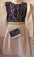 Платье белое синий гипюр