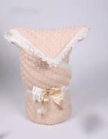 Вязанный конверт-плед на выписку, в коляску, кроватку
