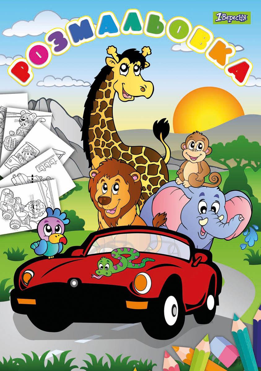 раскраска а4 животные и машины 12 стр