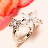Кольцо с белым австралийским опалом (лаб) цветок Размер 17.5
