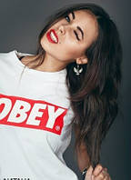 "Футболка женская  белая OBEY  Обей  """" В стиле Obey """""