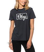 """Футболка черная Obey logo женская """""""" В стиле Obey """""""""""