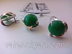 Набор серебряных украшений - кольцо и серьги с нефритом, хризопрасом , фото 2