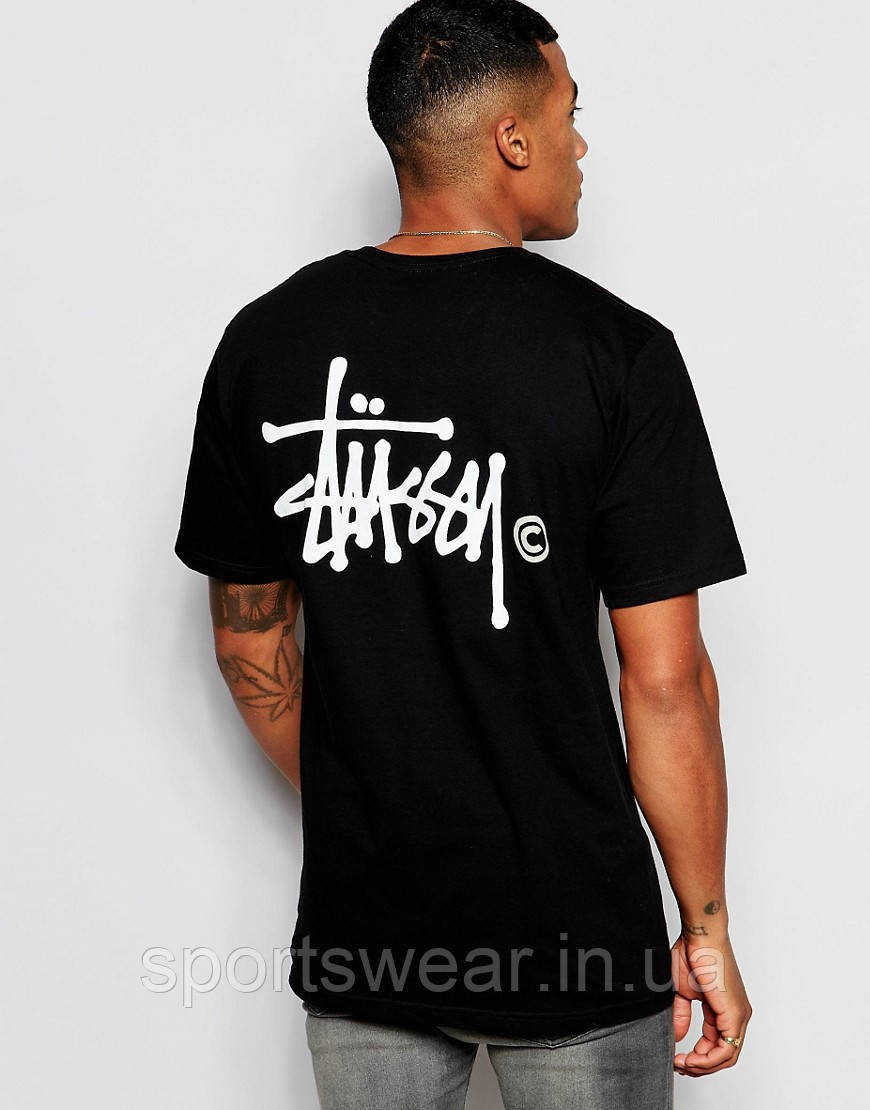 """Мужская  черная  футболка Stussy logo """""""" В стиле Stussy """""""""""