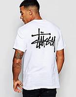 Мужская белая футболка Stussy logo