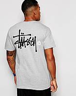 Мужская серая футболка Stussy logo
