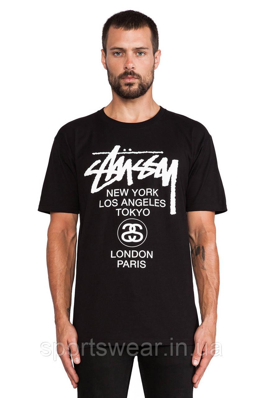 """Мужская  черная  футболка Stussy World Tour Tee """""""" В стиле Stussy """""""""""