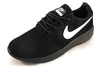 Кроссовки мужские  Nike Roshe Run замшевые, черные (р.41,42,43,44)