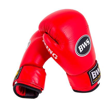 Боксерские перчатки Кожа Ring BWS 12 OZ красные, фото 2
