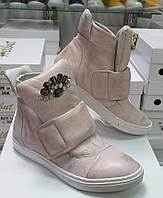Женские ботинки из Натуральных материалов с Камнями Цветком Стильные  Польша Оригинал