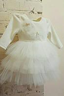 """Велюровый комплект для девочки """"Облачко"""" на выписку, крещение, праздник (платье+повязка)"""