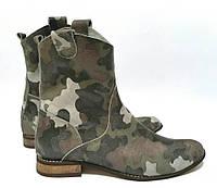 Женские ботинки из Натуральных материалов Модные  Комуфляж  Польша Оригинал