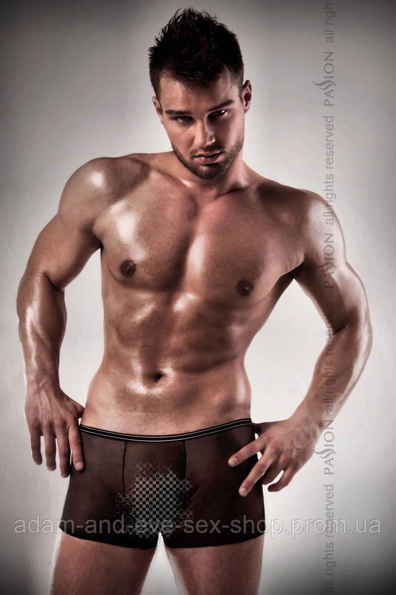 Мужские эротические прозрачные трусы Passion 025 SHORT черные L\XL