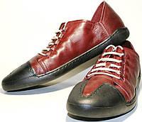 Спортивные туфли мужские Luciano Bellini 12504 бордовые, шнурки, кожа.