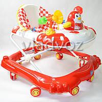 Детские ходунки музыкальная панель тормоз красные Bamby Пингвин
