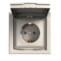 Розетка с заземлением с защитными шторками и крышкой крем Asfora Schneider (EPH3100323)