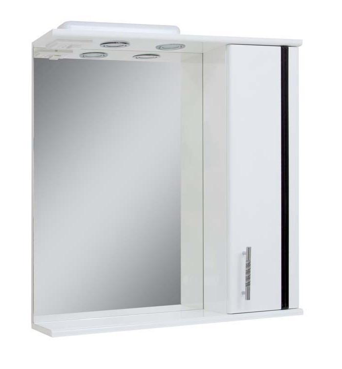 Зеркало для ванной комнаты Линеа 65-14 Поли/Черное Правое ПИК