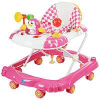 Детские ходунки музыкальная панель тормоз розовые Bamby Пингвин