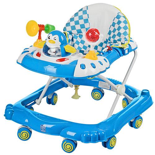 Детские ходунки музыкальная панель тормоз синие Bamby Пингвин