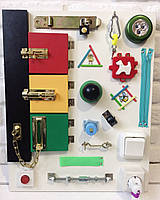 "Развивающая доска для детей ""Busy Board"", по методики Монтессори, размер  50х40, материал ДСП ламинированное"