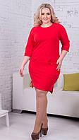 Офисное женское платье асимметричной длины, батал