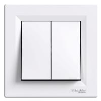 Выключатель 2-клавишный белый Asfora Schneider (EPH0300121)