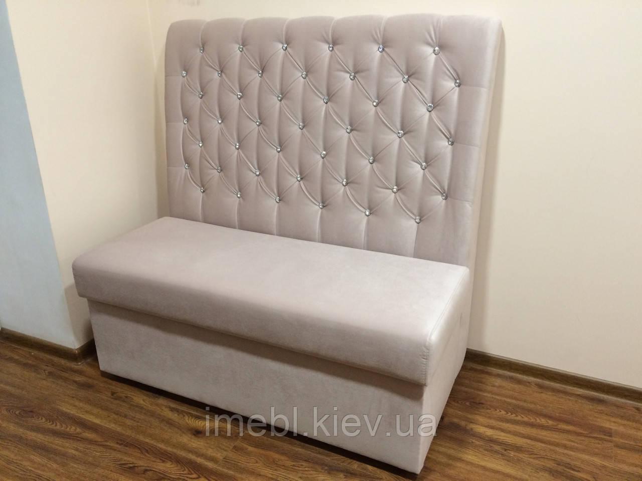 Мягкий кухонный диванчик с ящиком (Розовый)