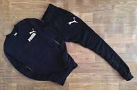 Мужской тёмно-синий спортивный костюм принт Puma мелкий значёк
