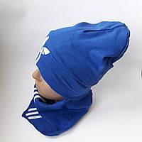 Детская трикотажная шапка c хамутом  для мальчика 8-11 лет оптом