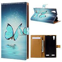 Чехол книжка для Lenovo A6010 / Lenovo K3 боковой с отсеком для визиток, Голубая бабочка над водой