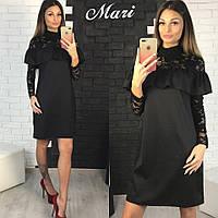 Платье черное с набивным гипюром 12170