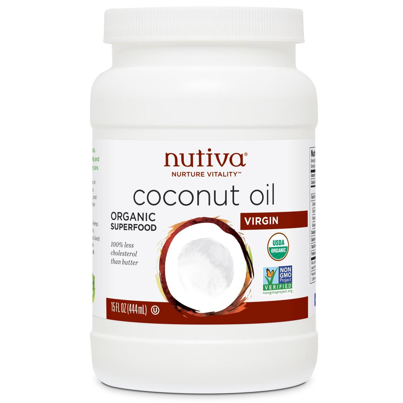 Органическое кокосовое масло первого отжима Nutiva Nurture Vitality, (съедобное), 444 мл