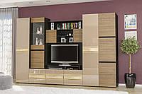 Гламур гостиная (Мебель-Сервис) венге тёмный+орех селект тёмный+капучино глянец, 3000х570х1980 мм