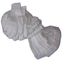 Вязаный зимний шарф - петля объемной ручной вязки, и вязаные перчатки