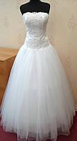 Нежное белое свадебное платье для настоящей невесты, размер 40-44 (б/у)