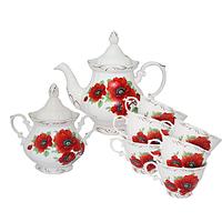50771 Набор чайный 8пр. Мак (чашка-200мл;чайник-700мл; сахарн.-500мл)