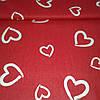 Ткань Валентинка с белыми сердцами на красном фоне