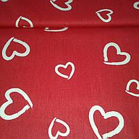 Ткань Валентинка с белыми сердцами на красном фоне, фото 1