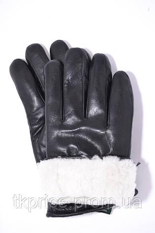 Мужские кожаные перчатки на белом меху, фото 2