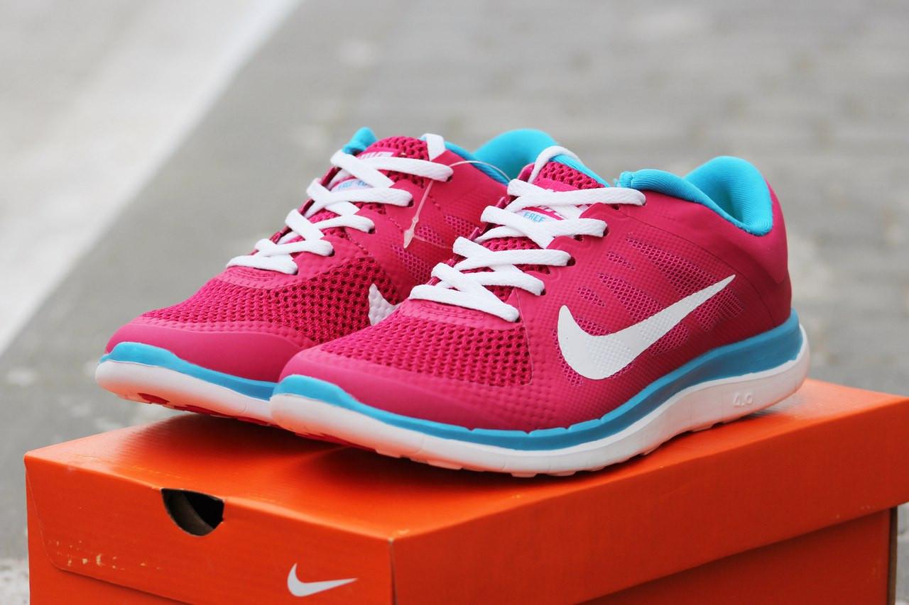 Женские кроссовки Nike Free Run 4.0 текстиль,розовые