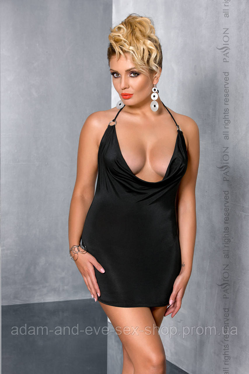Эротическое маленькое черное платье Passion Size Plus MIRACLE CHEMISE 4XL\5XL