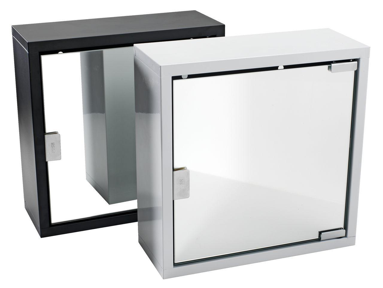 Шкафчик металлический с зеркальной дверцой квадратный (черный и белый) - Мебельный интернет-магазин «МебеЛайм» - доставим мебель в любой город Украины быстро и качественно. в Киеве