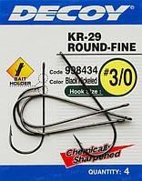 Гачок Decoy KR-29 WORM ROUND-FINE 2/0, 4 шт.