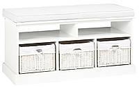 Банкетка в прихожую белая c 3-мя ящиками