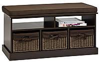 Банкетка в прихожую темно коричневая с 3-мя ящиками