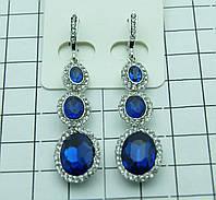 Длинные женские синие серьги. Романтические украшения от Бижутерии оптом RRR. 444