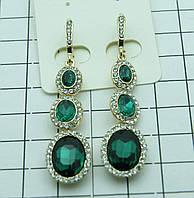 Женские зеленые серьги из крисиаллов. Женские украшения оптом недорого. 442